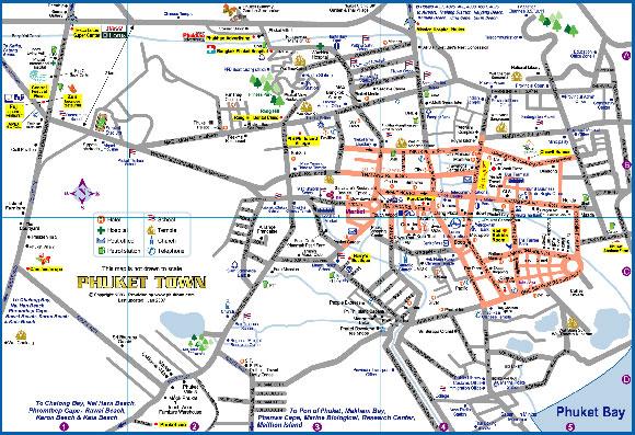 Пхукет таун на карте Пхукета