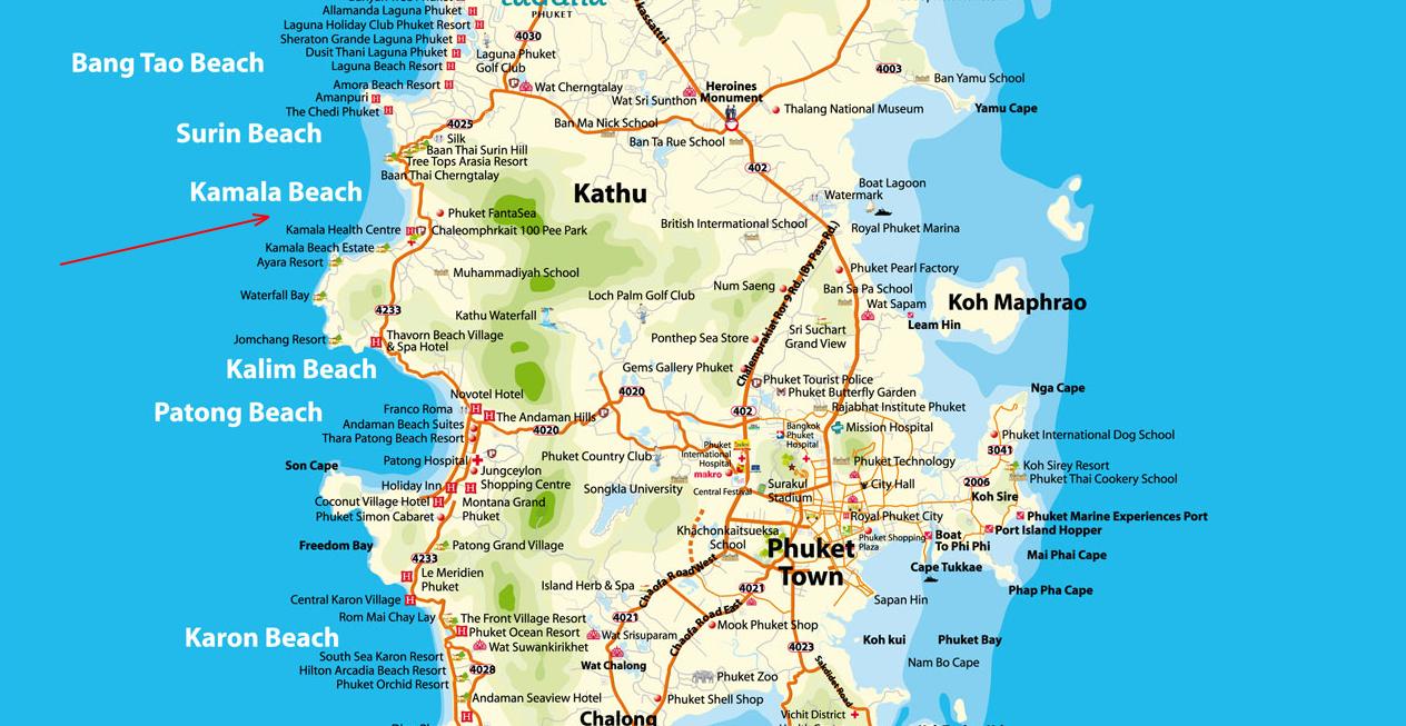пляж Камала на карте